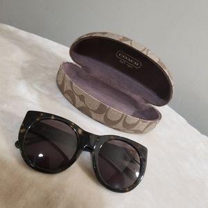 Coach Tan/Brown Monogram Sunglasses Case.